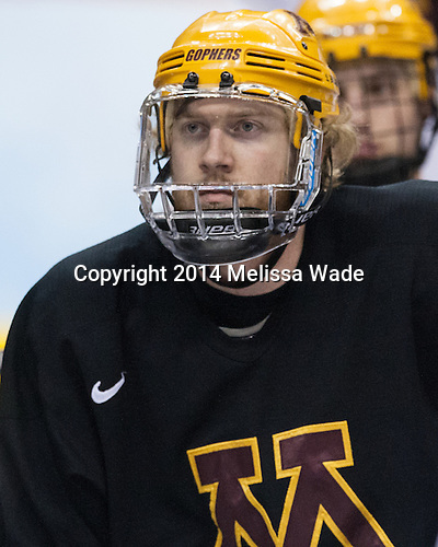 Travis Boyd (MN - 22) - The University of Minnesota Golden Gophers took part in a press conference and practice on Friday, April 11, 2014, during the 2014 Frozen Four at the Wells Fargo Center in Philadelphia, Pennsylvania.