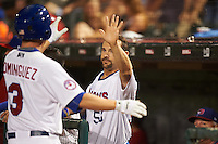 Buffalo Bisons Casey Kotchman (55) high fives Matt Dominguez (3) after hitting a home run during a game against the Norfolk Tides on July 18, 2016 at Coca-Cola Field in Buffalo, New York.  Norfolk defeated Buffalo 11-8.  (Mike Janes/Four Seam Images)