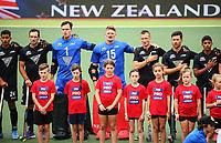 NZ Men during the national anthem. Pro League Hockey, Vantage Blacksticks v Netherlands. Harbour Hockey, Auckland, New Zealand. Sunday 27 January 2019. Photo: Simon Watts/Hockey NZ