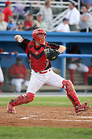 August 23 2008:  Catcher Charlie Cutler of the Batavia Muckdogs, Class-A affiliate of the St. Louis Cardinals, during a game at Dwyer Stadium in Batavia, NY.  Photo by:  Mike Janes/Four Seam Images