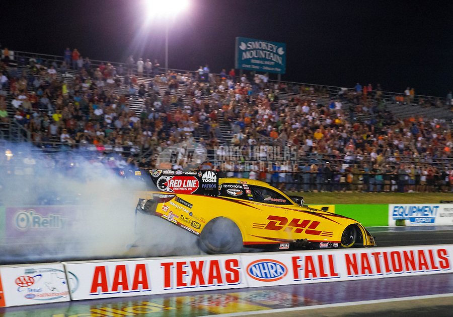 Oct 16, 2015; Ennis, TX, USA; NHRA funny car driver Del Worsham during qualifying for the Fall Nationals at the Texas Motorplex. Mandatory Credit: Mark J. Rebilas-USA TODAY Sports