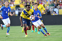 Ecuador Ecuador midfielder Michael Arroyo (11) and Brazil midfielder Philippe Coutinho (22) battle for the ball during Copa America Centenario match, in Pasadena, CA. Saturday, Jun 04, 2016. Brazil and Ecuador are scoreless at the halftime. (TFV Media via AP) *Mandatory Credit*