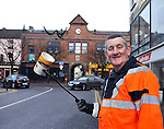 Neilus Griffin picks up some stray litter at The market Cross Killarney on Monday after it was announced the town came 3rd in the IBAL anti litter awards 2011..Picture by Don MacMonagle