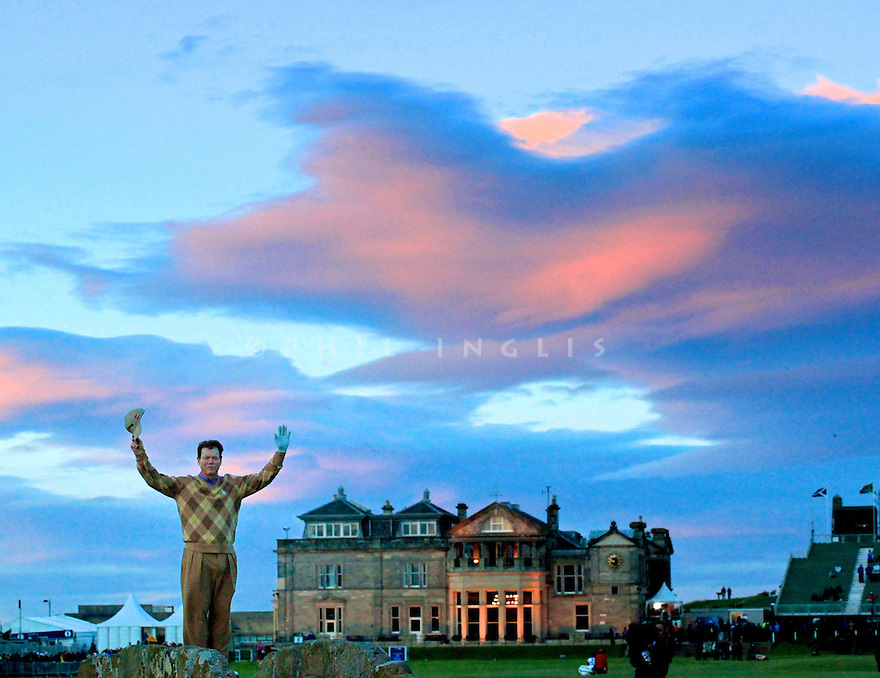 Tom Watson waves to the gallery from the Swilkan Bridge very late in the day for his final appearance at St Andrews having missed the cut during the second round of the 139th Open Championship, Old Course, St. Andrews, Fife, Scotland,  Picture Credit / Phil Inglis...