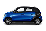 Car Driver side profile view of a 2020 Smart EQ-forfour Comfort-Plus 5 Door Hatchback Side View