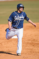 Wade Moore #25 of the Catawba Indians heads towards third base on February 14, 2010 in Salisbury, North Carolina.  Photo by Brian Westerholt / Four Seam Images