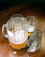 STILL LIFE: NEGATIVE IMAGE OF BEER Pitcher of Beer & Glasses, One Tumbled.