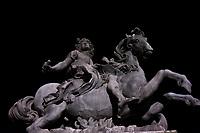 Louis XIV on Horseback at night, Paris, France.