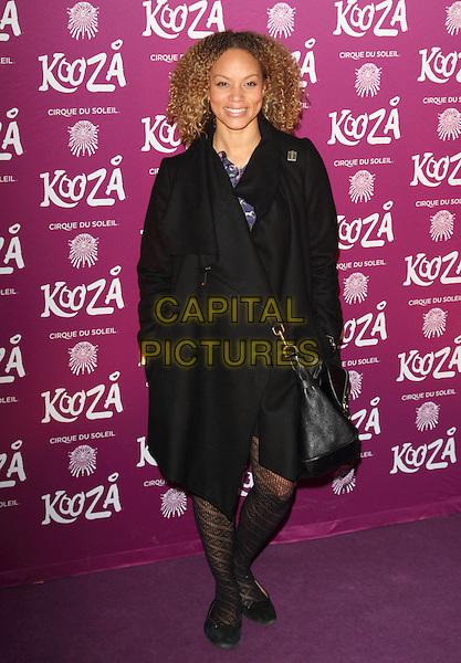 "Angela Griffin.VIP Night for Cirque du Soleil's new production, ""Kooza"" at the Royal Albert Hall, London, England..January 8th 2013.full length coat pattern tights jacket black.CAP/ROS.©Steve Ross/Capital Pictures."