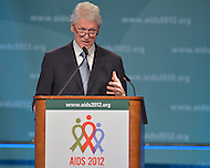 July 27, 2012  (Washington, DC) Former U.S. President Bill Clinton speaks to delegates at closing plenary session at the 2012 International AIDS Conference.   (Photo by Don Baxter/Media Images International)