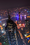 SHANGHAI, CHINA - SEPTEMBER 20: Night view of the Shanghai, China skyline.