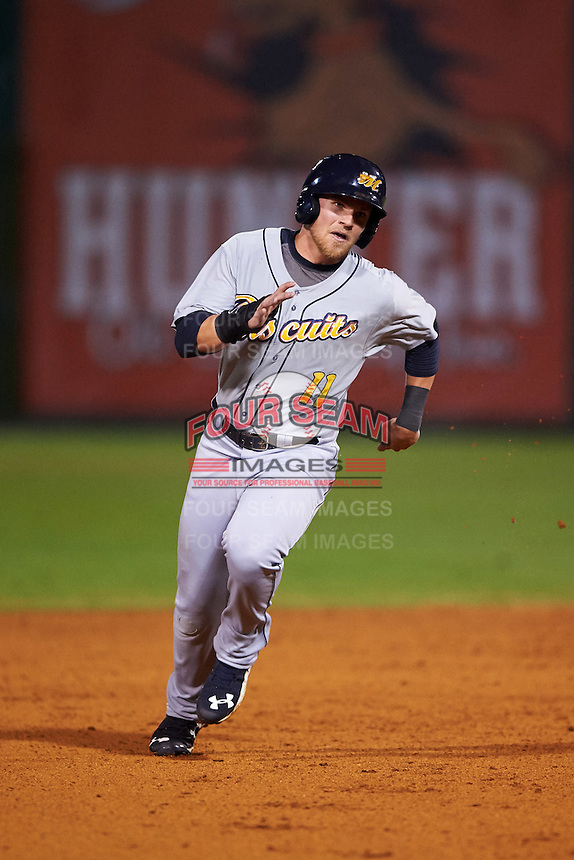 Montgomery Biscuits right fielder Jake Bauers (11) running the bases during a game against the Chattanooga Lookouts on May 2, 2016 at AT&T Field in Chattanooga, Tennessee.  Chattanooga defeated Montgomery 9-6.  (Mike Janes/Four Seam Images)