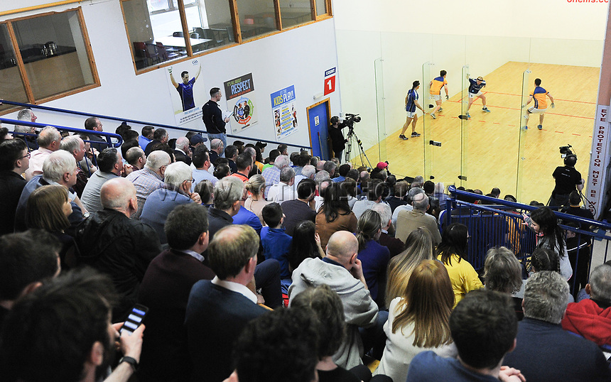 07/04/2018; GAA Handball O&rsquo;Neills 40x20 Championship Mens Senior Final - Cavan (Paul Brady/Michael Finnegan v Clare (Diarmuid Nash/Colin Crehan); Kingscourt, Co Cavan;<br /> General view of spectators watching the match<br /> Photo Credit: actionshots.ie/Tommy Grealy