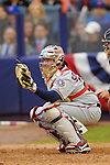 3 April 2006: Brian Schneider, catcher for the Washington Nationals, behind the plate during Opening Day play against the New York Mets at Shea Stadium, in Flushing, New York. The Mets defeated the Nationals 3-2 to lead off the 2006 MLB season...Mandatory Photo Credit: Ed Wolfstein Photo..