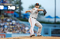 Madison Bumgarner #40 of the San Francisco Giants pitches against the Los Angeles Dodgers at Dodger Stadium on June 25, 2013 in Los Angeles, California. (Larry Goren/Four Seam Images)