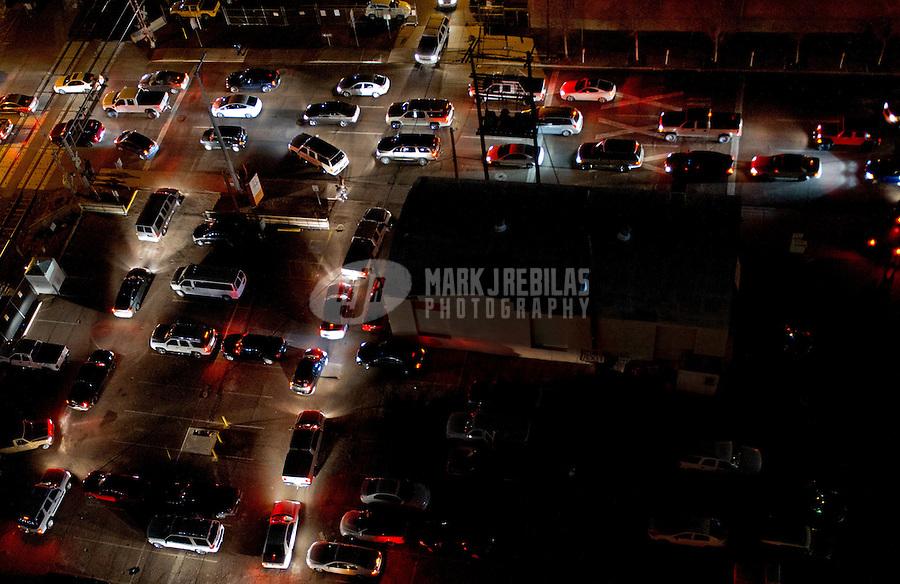 traffic jam downtown Phoenix Arizona post game road cars industrial gridlock parking lot