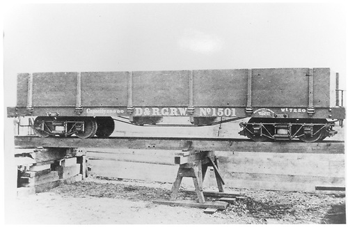 Side view of D&amp;RGW gondola #1501 at Billmeyer &amp; Small's factory in 1872.  This car is lettered for &quot;D&amp;RGW&quot;, but that corporate name did not exist in 1872.<br /> D&amp;RGW  York, PA  ca. 1872