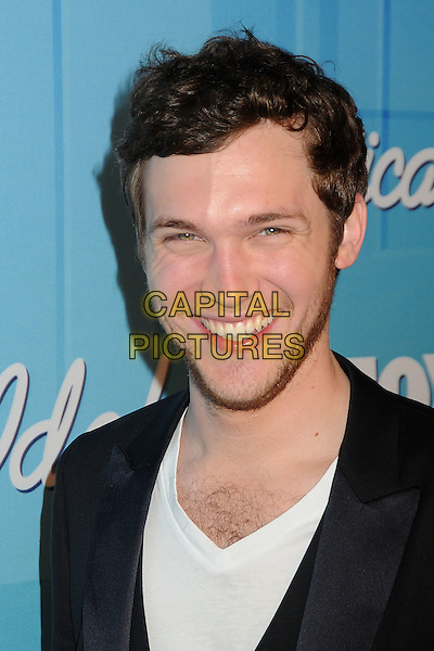 Phillip Phillips.American Idol Season 11 Finale - Press Room held at Nokia Theatre LA Live, Los Angeles, California, USA..May 23rd, 2012.headshot portrait stubble facial hair black white top.CAP/ADM/BP.©Byron Purvis/AdMedia/Capital Pictures.
