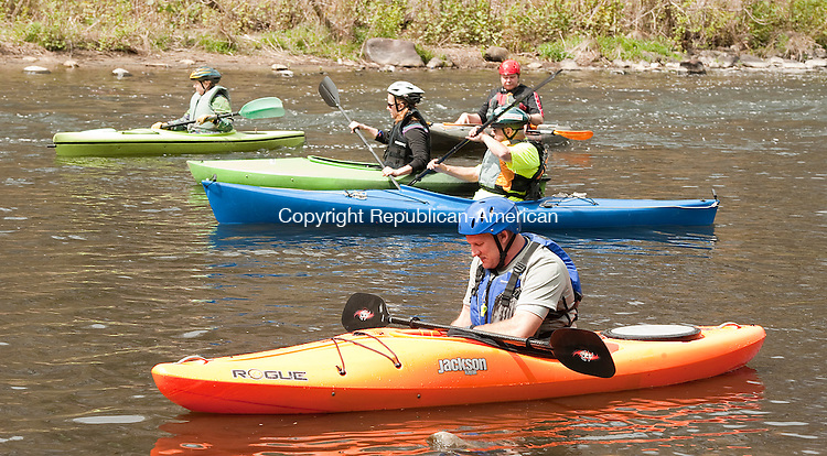 NAUGATUCK,  CT--- -061516JS01-  Dave Faber, owner of Connecticut Outdoors, prepares to join other kayakers for a paddle down the Naugatuck River to Beacon Falls during the Naugatuck River Festival and Fun Paddle Run at Linden park in Naugatuck in April.<br /> Jim Shannon Republican-American