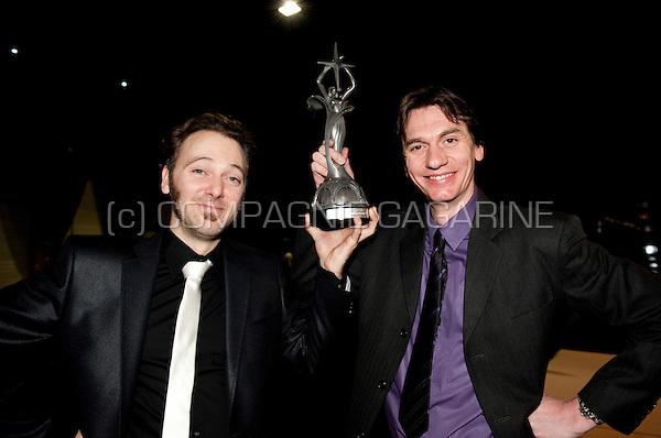 Bert Gabriëls and Henk Rijckaert at the Nacht van de Vlaamse Televisiesterren in Hasselt with their award for the TV show Zonde Van De Zendtijd (Belgium, 06/03/2010)