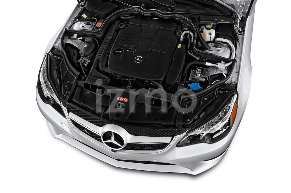 High angle engine detail of a  2014 Mercedes E Class 350 Coupe