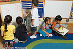 Education Preschool 4-5 year olds literacy rich environment boy and girl look at book, boy and two girls wriiting with dry erase markers on board, signs and books in classroom