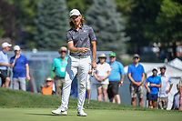 Tommy Fleetwood (ENG) watches his putt on 9 during 3rd round of the World Golf Championships - Bridgestone Invitational, at the Firestone Country Club, Akron, Ohio. 8/4/2018.<br /> Picture: Golffile | Ken Murray<br /> <br /> <br /> All photo usage must carry mandatory copyright credit (© Golffile | Ken Murray)