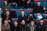 Stockholm 2014-02-24 Ishockey Hockeyallsvenskan Djurg&aring;rdens IF - S&ouml;dert&auml;lje SK :  <br /> Sveriges statsminister Fredrik Reinfeldt p&aring; l&auml;ktaren under matchen<br /> (Foto: Kenta J&ouml;nsson) Nyckelord:  portr&auml;tt portrait