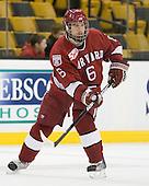 Ryan Grimshaw (Harvard - 6) - The Harvard University Crimson defeated the Boston University Terriers 5-4 in the 2011 Beanpot consolation game on Monday, February 14, 2011, at TD Garden in Boston, Massachusetts.