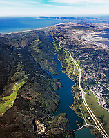 aerial photograph Crystal Springs Reservoir and the San Andreas fault, San Mateo County, California