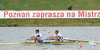 Poznan, POLAND,  GBR LM2-, Bow, [R] Ross HUNTER and Oliver MAHONY,  training on the Poznan, Malta Rowing Lake venue for the 2009 FISA World Rowing Championships. Saturday  22/08/2009 [Mandatory Credit. Peter Spurrier/Intersport Images]