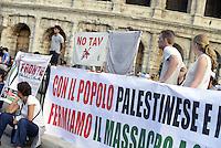 Roma 26 Luglio 2014<br /> Colosseo<br /> Presidio in solidarietà alla resistenza del popolo palestinese e contro l'offensiva militare israeliana nella Striscia di Gaza.<br /> La  protesta organizzata dalla comunità dellee dei giovani palestinesi, è in concomitanza in tutta Europa e Mondo.<br /> Kefiah e bandiera No Tav.<br /> Rome July 26, 2014 <br /> Protest in solidarity with the resistance of the Palestinian people, and against the Israeli military offensive in the Gaza Strip.<br /> The protest was organized by the Palestinian youth, is at the same time throughout Europe and the World .