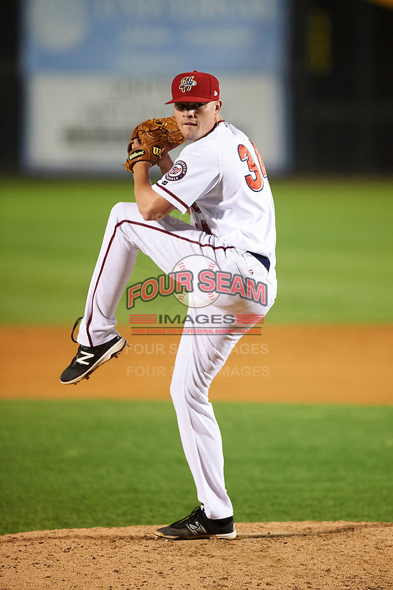 Harrisburg Senators relief pitcher Koda Glover (34) during a game against the New Hampshire Fisher Cats on June 2, 2016 at FNB Field in Harrisburg, Pennsylvania.  New Hampshire defeated Harrisburg 2-1.  (Mike Janes/Four Seam Images)