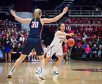 STANFORD, CA - March 17, 2018: Marta Sniezek at Maples Pavilion. The Stanford Cardinal defeated the Gonzaga Bulldogs 82-68 to advance to the second round of the NCAA tournament.