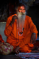 Holy Man or sadhu, Street life in Pushkar one of India's most holiest cities Rajasthan, India
