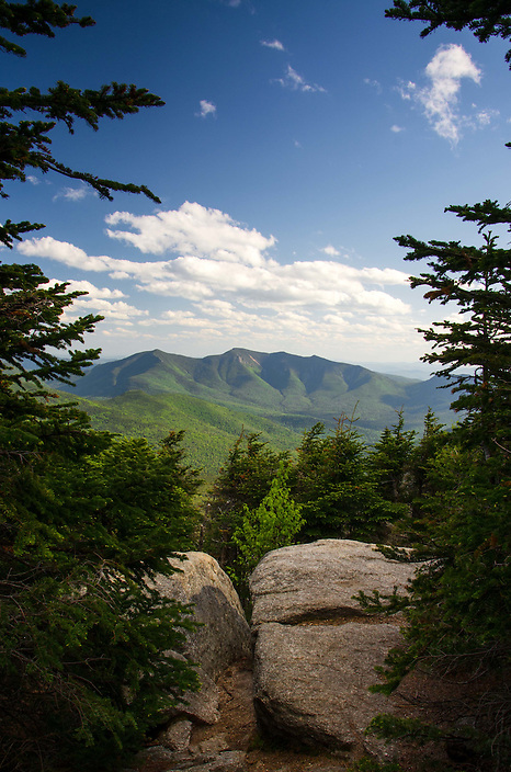 An outstanding mountain view from an outstanding outlook ledge in New Hampshires White Mountains.