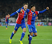 31st October 2017, St Jakob-Park, Basel, Switzerland; UEFA Champions League, FC Basel versus CSKA Moscow;  Raoul Petretta of FC Basel celebrates with Luca Zuffi after his goal which made it 1-0 in the 35th minute