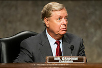 """United States Senator Lindsey Graham (Republican of South  Carolina), Chairman, US Senate Judiciary Committee prepares to hear testimony from former deputy attorney general Rod Rosenstein on """"Crossfire Hurricane"""" the FBI's probe into Russian election interference and the 2016 Trump campaign in the Dirksen Senate Office Building in Washington, DC, USA, 03 June 2020.<br /> Credit: Jim LoScalzo / Pool via CNP/AdMedia"""