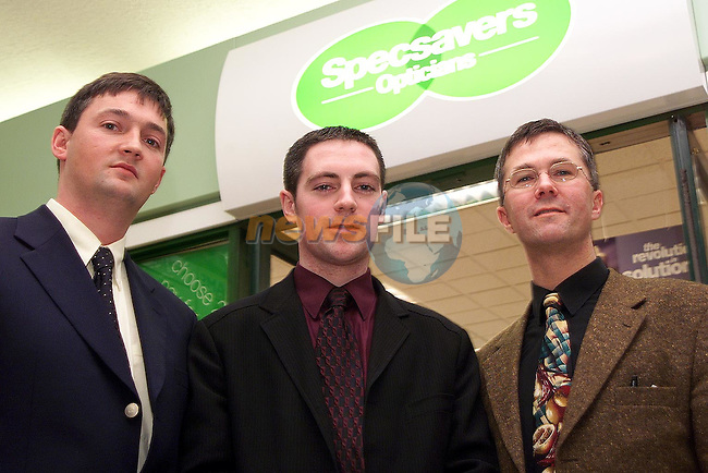 David McCloskey, Director/Dispensing Optician, Kerril Hickey, Director/Optometrist and Martin Victory, Optometrist outside Specsavers Opticians in the Town Centre..Picture Paul Mohan Newsfile
