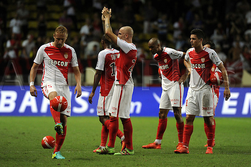 03.08.2016. Monaco, France. UEFA Champions league qualifying round, AS Monaco versus Fenerbahce.  Monaco players celebrates at the end of the match