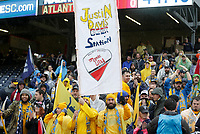 Nashville, TENN. - Saturday February 10, 2018: Nashville SC supporters during a preseason exhibition match between Nashville SC vs Atlanta United FC at First Tennessee Park.