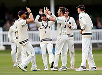 Early breakthrough for Kent as Matt Henry is congratulated after taking the wicket of Luke Proctor during the County Championship Division Two (day 3) game between Kent and Northants at the St Lawrence ground, Canterbury, on Sept 4, 2018.