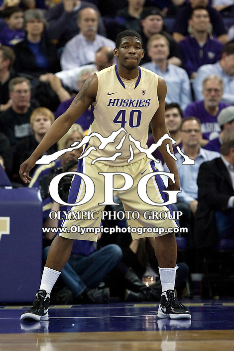 Feb 2, 2012:  Washington's #40 Shaun Kemp Jr against UCLA.  Washington defeated UCLA 71-69 at Alaska Airlines Arena Seattle, Washington...