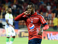 MEDELLÍN - COLOMBIA, 02-02-2018: Juan F Caicedo jugador del Medellín celebra después de anotar un gol al Alianza P durante el partido entre Independiente Medellín y Atletico Huila por la fecha 1 de la Liga Águila II 2018 jugado en el estadio Atanasio Girardot de la ciudad de Medellín. / Juan F Caicedo player of Medellin celebrates after scoring a goal to Alianza P during match between Independiente Medellin and Atletico Huila for the date 1 of the Aguila League II 2018 played at Atanasio Girardot stadium in Medellin city. Photo: VizzorImage/ León Monsalve / Cont