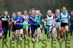 Shauna McCarthy Killorglin CC Leona Eager ISK and Lucy Daly IP Inbhear Sceine lead the field in the Minor Girls race at the Kerry Schools Cross Country championships in Killarney on Friday