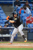 Akron RubberDucks catcher Eric Haase (13) at bat during a game against the Binghamton Rumble Ponies on May 12, 2017 at NYSEG Stadium in Binghamton, New York.  Akron defeated Binghamton 5-1.  (Mike Janes/Four Seam Images)