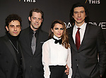 """Brandon Uranowitz, David Furr, Keri Russell and Adam Driver attends the Broadway Opening Celebration for Landford Wilson's """"Burn This""""  at Hudson Theatre on April 15, 2019 in New York City."""