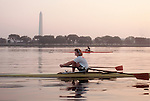 Rowing, Washington DC: Washington Monument, Potomac Boat Club rowers in single racing shells, Potomac River, District of Columbia, USA, North America,.