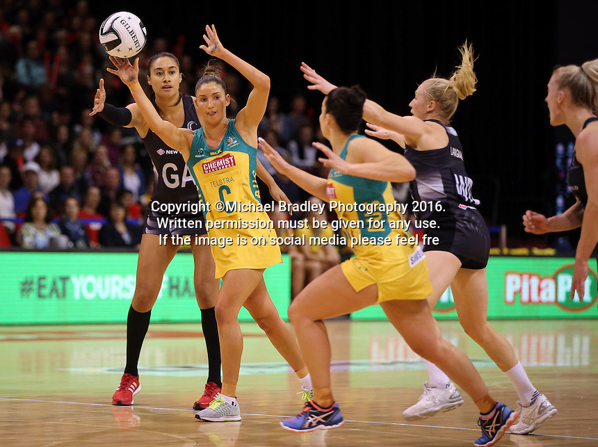 20.10.2016 Australia's Kim Ravaillion in action during the Silver Ferns v Australia netball test match played at ILT Stadium in Invercargill. Mandatory Photo Credit ©Michael Bradley.
