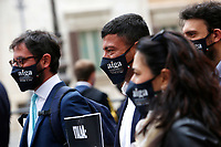 Young lawyers showing banners during the demonstration AIGA, Association of Young Lawyers, in Montecitorio Square, to ask the Government a quick restart of justice activities after the stop due to the Coronavirus pandemic. Rome (Italy) June 11th 2020<br />  <br /> <br /> Photo Samantha Zucchi Insidefoto